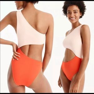 NWT J. crew cutout orange and pink bikini